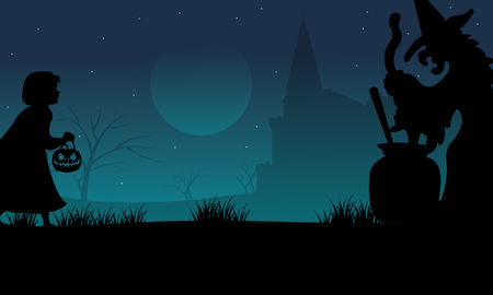 witch silhouette: Halloween childs and witch silhouette at the night