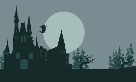 Halloween castle and ghost scary with gray backgrounds Ilustração
