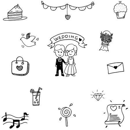 romance: Doodle vector art Wedding party on white backgrounds Illustration