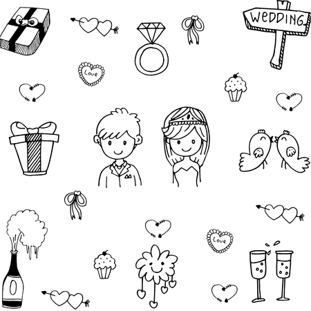 romance: Cute set wedding vector in doodle on white backgrounds Illustration