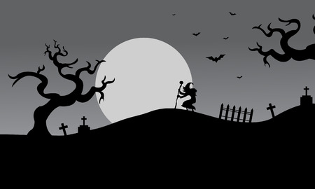 witch silhouette: Gray backgrounds halloween silhouette witch and bat