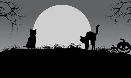Halloween silhouette gatto e la luna con sfondi grigi