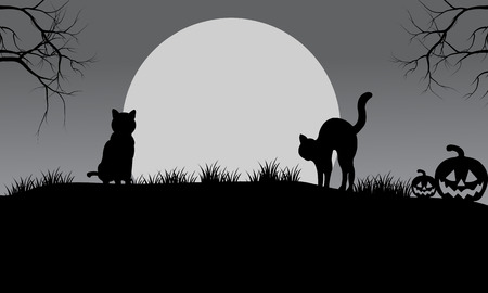 Halloween cat silhouette and moon with gray backgrounds
