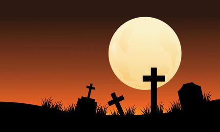 silueta de gato: Silueta del cementerio y la luna llena de halloween copia el SP