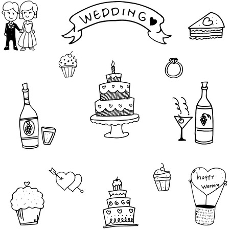layout strawberry: Doodle of wedding party vector hand draw Illustration