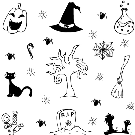 poltergeist: Halloween characters and attributes doodle set Vector illustration. Illustration