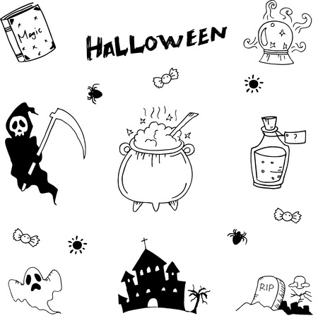 poltergeist: Halloween set doodle vector illustration on white backgrounds