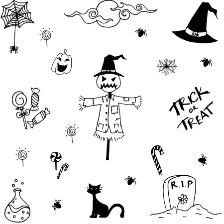 poltergeist: Collection halloween doodle vector art with hand draw Illustration