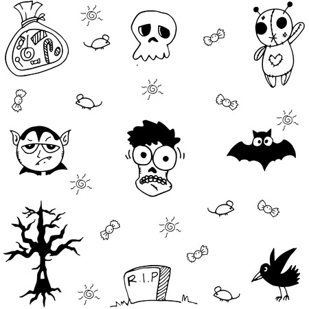 poltergeist: Halloween zombie and ghost doodle vector art illustration Illustration