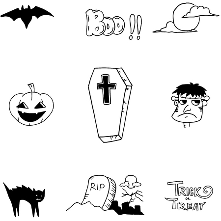 poltergeist: Halloween icon doodle on white backgrounds for stock