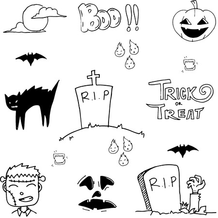 tomb: Doodle of tomb halloween vector art illustration