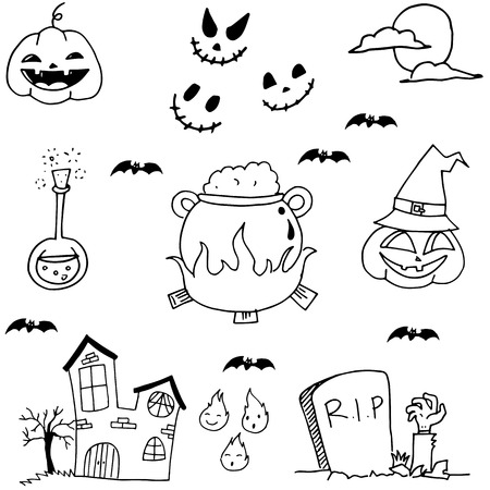 vetor: Scary element halloween in doodle vetor illustration