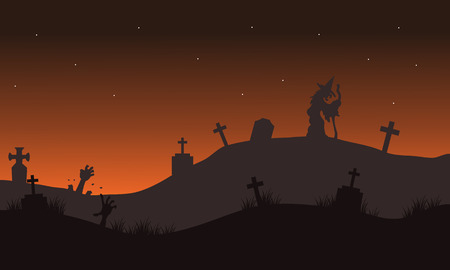 tomb: Halloween landscape with witch in the tomb silhouette