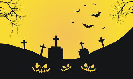 graves: Halloween with graves and scary face silhouette yellow backgroounds Illustration