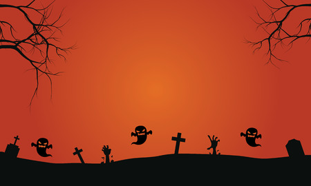 graves: Silhouette of ghost in graves halloween backgrounds scary