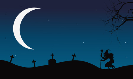 tomb: Halloween witch and Crescent moon silhouette in tomb