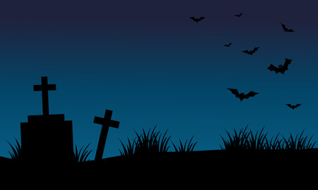 graves: Graves and bat halloween backgrounds silhouette vector