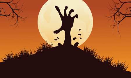 scary hand: Scary hand zombie halloween backgrounds with full moon