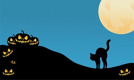 Illustrazione di vettore della siluetta di Halloween del gatto e della zucca