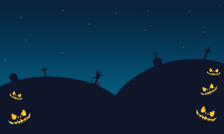 tomb: Halloween backgrounds tomb of silhouette very scary Illustration