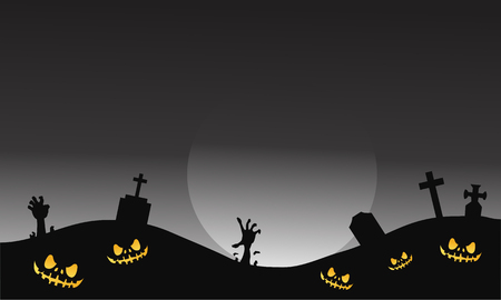tomb: Scary halloween tomb and hand zombie of silhouette