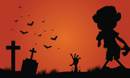 tomb: Halloween zombie and bat of silhouette in the tomb Illustration