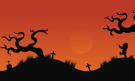 pumpkin halloween: Silhouette of tomb halloween backgrounds at afternoon Illustration
