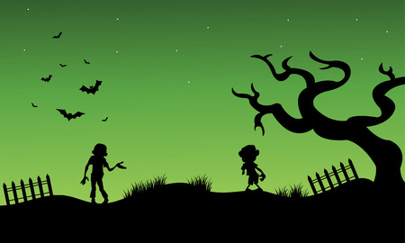 moon  owl  silhouette: Halloween zombie and childs silhouette vector with green backgrounds