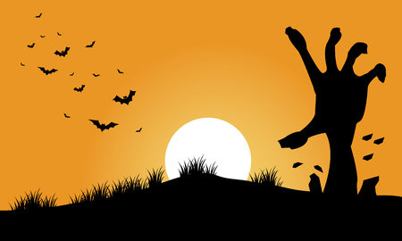 moon  owl  silhouette: Hand zombie and bat halloween backgrounds silhouette illustration Illustration