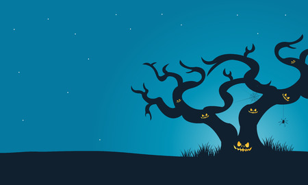 moon  owl  silhouette: Halloween scary dry tree silhouette with blue backgrounds