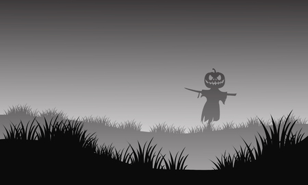 moon  owl  silhouette: Silhouette of halloween scarecrow in fields with gray backgrounds