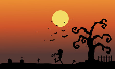 tomb: Silhouette of zombie in the tomb halloween illustration