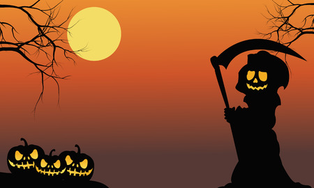moon  owl  silhouette: Silhouette of warlock and pumpkins halloween illustration Illustration