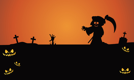 tomb: Halloween warlock in tomb silhouette vector illustration