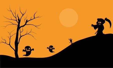 warlock: Halloween warlock and ghost scary silhouette vector illustration Illustration
