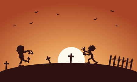 tomb: Halloween scary zombie in tomb silhouette illustration
