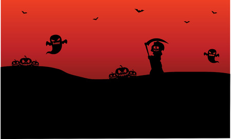 warlock: Silhouette of Halloween warlock, ghost, pumpkins illustration