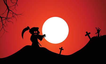warlock: Silhouette of warlock halloween in tomb full moon background