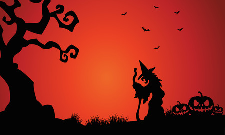 castle silhouette: Silhouette of witch and pumpkins Halloween scary