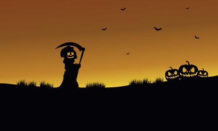warlock: Halloween warlock and pumpkins silhouette at afternoon