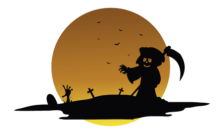 warlock: Scary warlock halloween silhouette vector art illustration