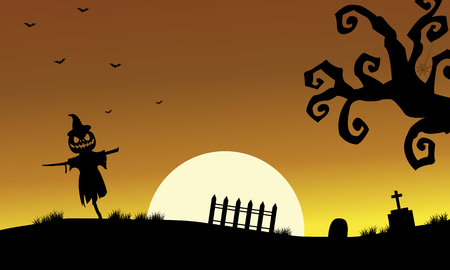 tomb: Halloweenn scarecrow silhouette in the tomb scenery Illustration