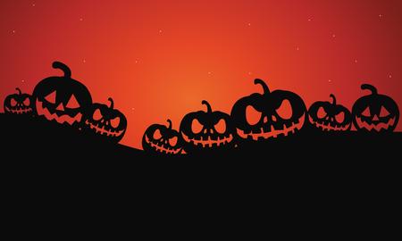 Siluetta dell'illustrazione spaventosa di vettore delle zucche di Halloween
