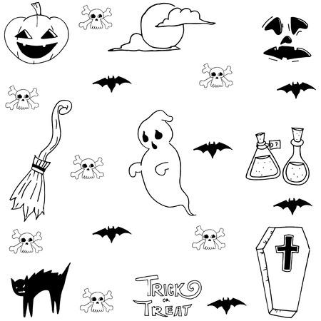 elixir: Ghost, cat, bat Halloween doodle set illustration Illustration