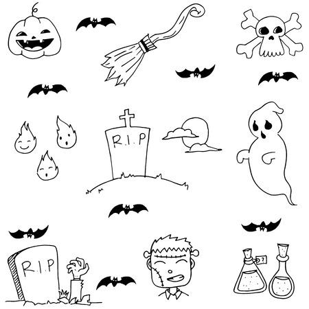 elixir: Ghost and zombie doodle halloween vector illustration