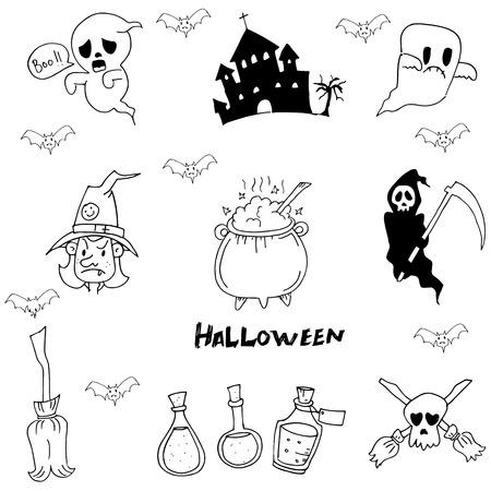 warlock: Halloween character warlock, witch doodle vector art Illustration