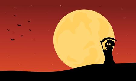 warlock: Silhouette of warlock and full moon backgrounds illustration Illustration