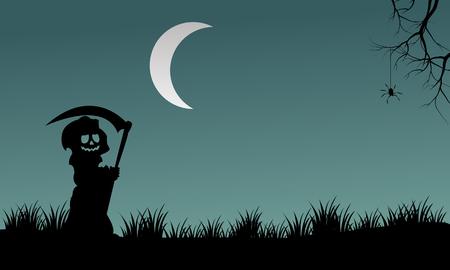 warlock: Halloween warlock silhouette at night vector illustration