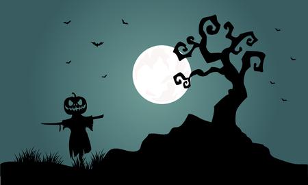 Silhouette of Halloween scarecrow bat tree at night Illustration
