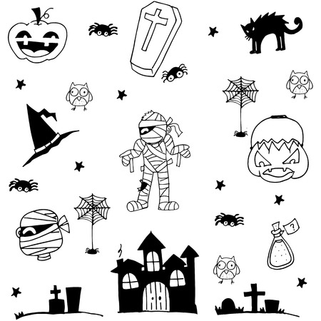 tomb: Halloween zombie castle tomb cat in doodle illustration Illustration